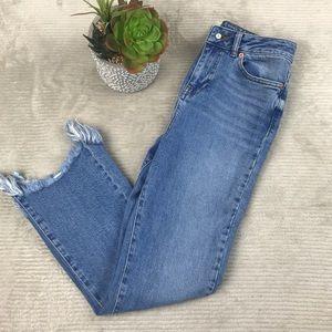 ASOS Denim Fray Hem Hi Waist Light Wash Jeans